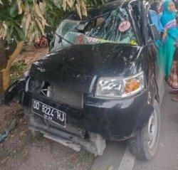 Mobil Pick Up Asal Bulukumba Penyok Tabrak Pohon Mangga di Luwu