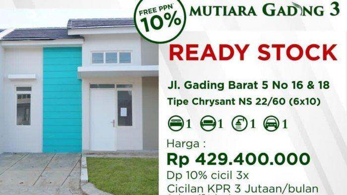 Mutiara Gading 3 Ready Stock Tawarkan Insentif PPN 10 Persen