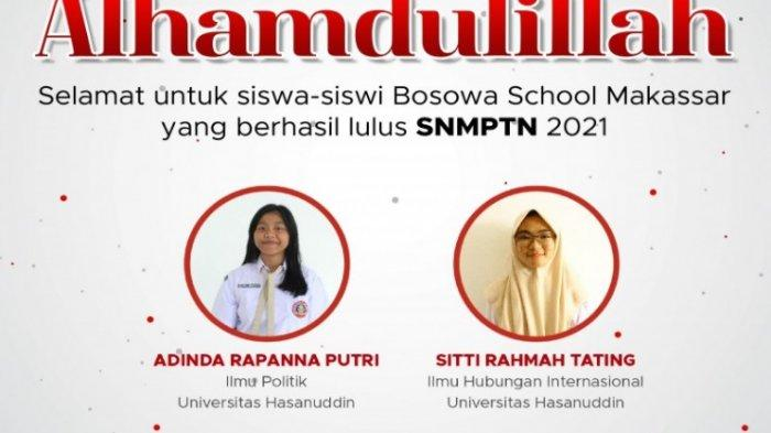 Nama-nama siswa Bosowa School Makassar yang berhasil lulus SNMPTN 2021: