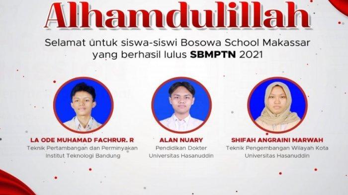 Nama-nama 8 Siswa Bosowa School Makassar yang Lolos di Tiga Perguruan Tinggi Terbaik Indonesia