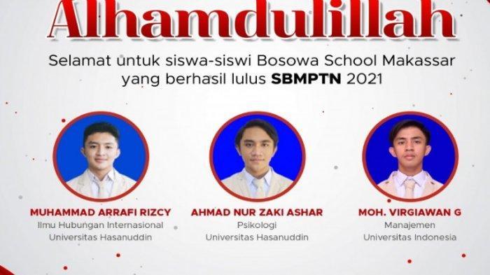 Nama-nama siswa Bosowa School Makassar yang berhasil lulus SNMPTN 2021