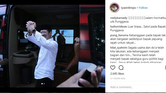Pilgub Sulsel - Netizen Puji dan Bangga dengan Ichsan Yasin Limpo