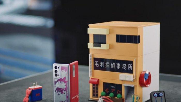 Oppo Reno6 Pro+ edisi Detective Conan yang menggunakan kotak kemasan berbentuk miniatur kantor detektif Kogoro Mouri.