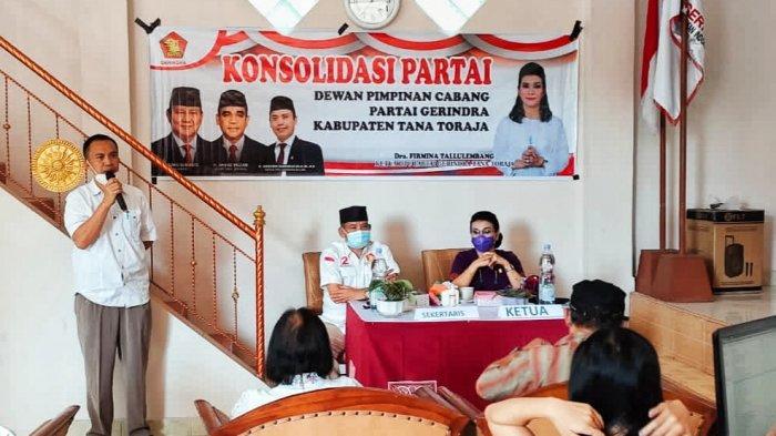 Konsolidasi Gerindra Tana Toraja, Firmina Tekankan Militansi Semua Kader
