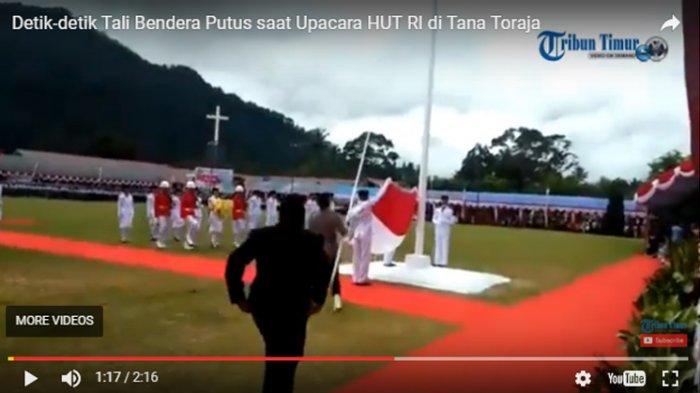 VIDEO: Detik-detik Paskibra Tana Toraja Gagal Naikkan Bendera, Dandim Marah Besar!