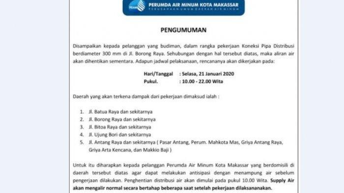 Hari Ini, Air PDAM Makassar Stop 12 Jam di Sebagian Wilayah Panakkukang-Manggala