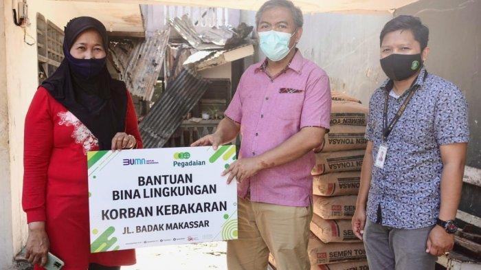 Pegadaian Kirim Bantuan ke Warga Korban Kebakaran Jl Badak Makassar