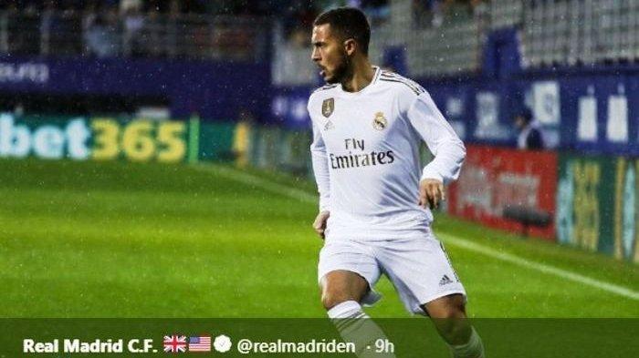 Pemain bintang Real Madrid, Eden Hazard, dalam laga kontra Eibar di Ipurua pada Sabtu (9/11/2019).