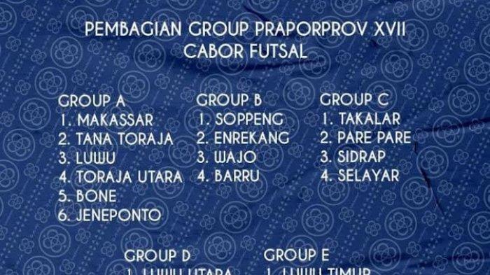 Pembagian Group Futsal Pra Porprov Sulsel, Makassar Satu Group Tana Toraja dan Bone