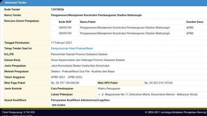 Manajemen Konstruksi Stadion Mattoanging di LPSE Gunakan Anggaran APBD 2022