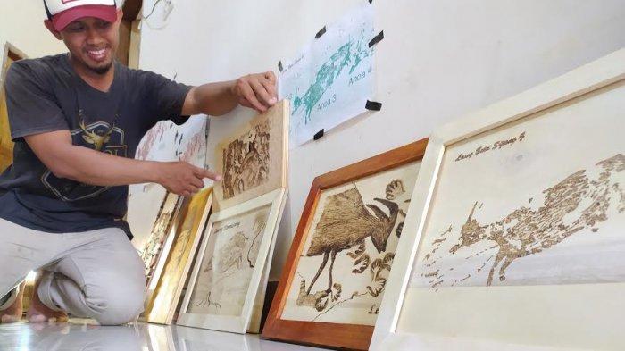 Kreatif, Pemuda di Leang-Leang Maros Buat Lukisan Bertema Prasejarah Leang-leang