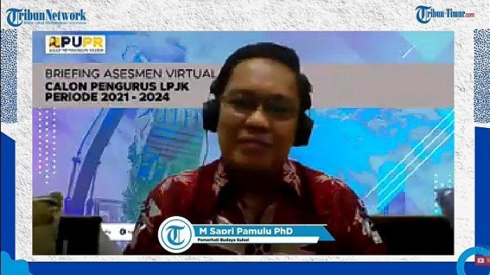 Pemerhati Budaya Sulsel, M Sapri Pamulu dalam Webinar Tribun Timur 'Peluncuran Kalender Sulsel dan Buku Bilang Taung', Sabtu (31/10/2020).