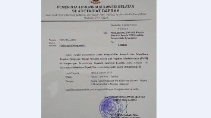 BREAKING NEWS: Siang Ini, Pemprov Sulsel Lantik Pejabat Eselon II dan III