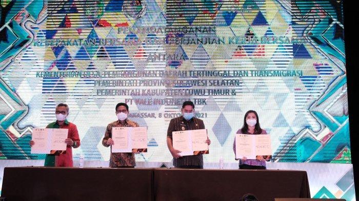 Kemendes PDTT, Pemprov Sulsel, Pemkab Lutim dan PT Vale Teken Perjanjian Kerja Bersama