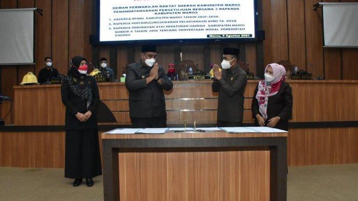 Bupati dan DPRD Maros Setujui Tiga Raperda RPJMD 2021-2026