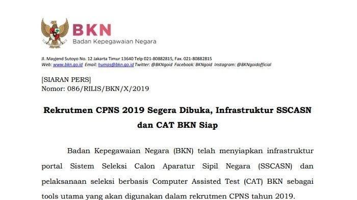Pendaftaran CPNS 2019 Dibuka November, BKN Rilis Jadwal Lengkap & 7 Langkah Daftar di SSCASN