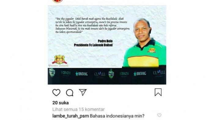 Presiden Lalenok United 'Gertak' PSM, Begini Unggahannya di Instagram