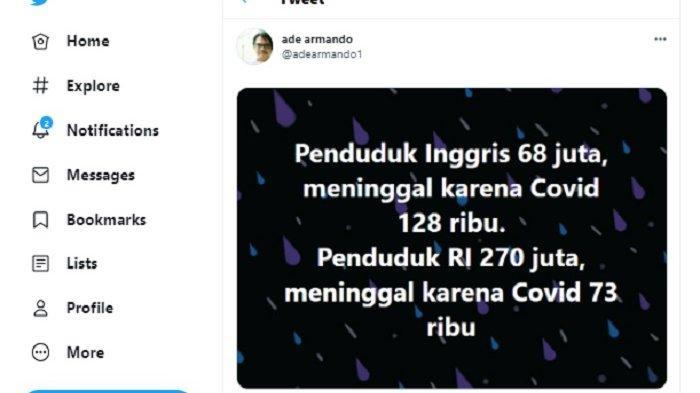 Pendukung Jokowi Ade Armando yang juga dosen UI Trending hari ini karena Covid19 Indonesia dan Inggris