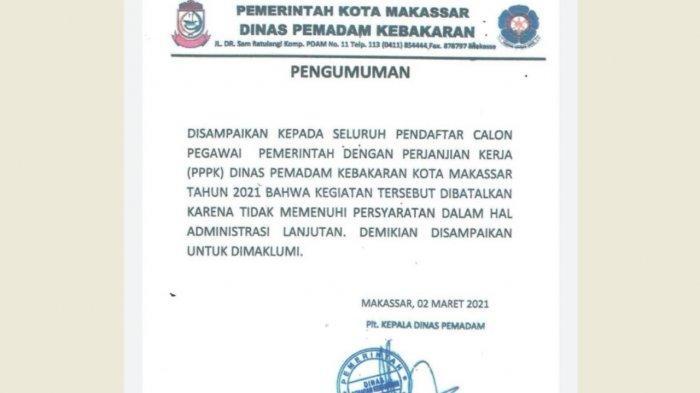 Pendaftaran Calon PPPK Damkar Makassar Dihentikan