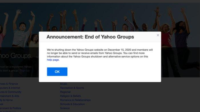 Pengumuman penutupan layanan Yahoo Groups.