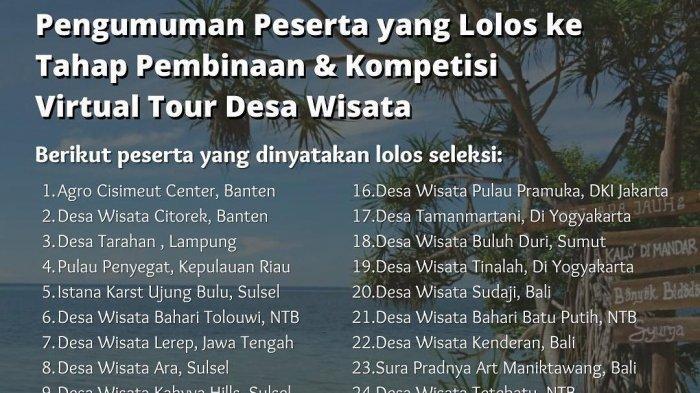 Pengumuman peserta yang lolos ke tahap pembinaan dan kompetisi virtual tour desa wisata Bank Mandiri itu diumumkan, Minggu (12 Sept 2021) melalui akun instagram @semutnusantara