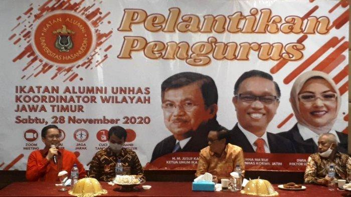 Kegiatan pelantikan Pengurus Ika Unhas Wilayah Jawa Timur Periode 2020-2024, Sabtu (28/11/2020). Pelantikan juga dilakukan bersama tiga wilayah lainnya, yaitu Kalimantan Timur, Sulawesi Tenggara, dan Papua Barat.