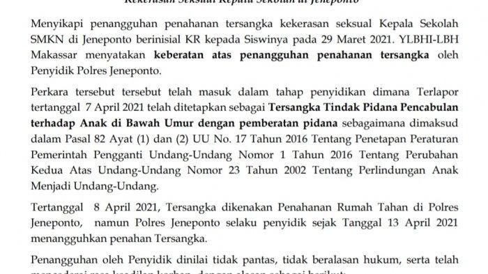 LBH Makassar Desak Polisi Tahan Oknum Kepsek SMK Tersangka Pelecehan Seksual di Jeneponto
