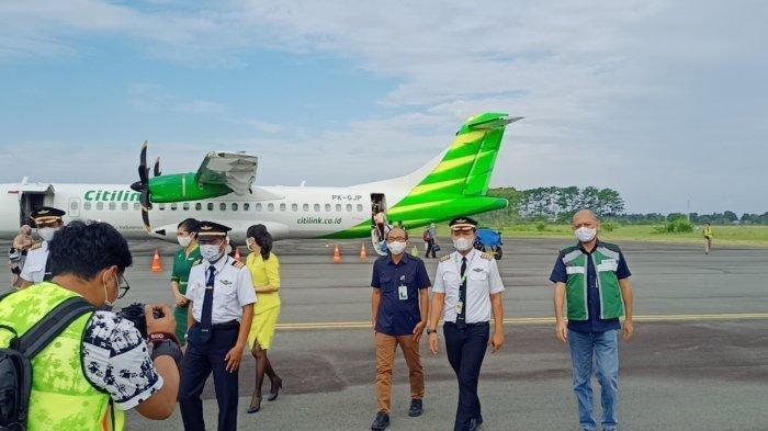 ilustrasi - Pesawat Citilink saat mendarat di Bandar Udara Lagaligo, Palopo, Kamis (17/9/2020) lalu.
