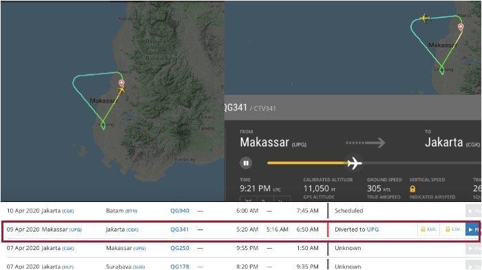 Data Flightradar24.com: Pesawat Citilink QG-341 dari Makassar ke Jakarta Kembali Mendarat, Ada Apa?