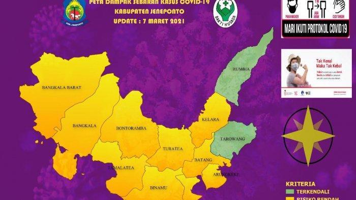 Peta Sebaran Covid-19 di Jeneponto Hari Ini, Kecamatan Batang Turun ke Zona Hijau