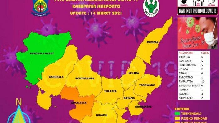 Peta Sebaran Covid-19 Jeneponto Hari Ini, Tiga Kecamatan Berubah Zona