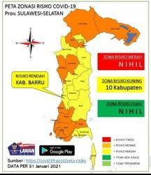 Rendah Penyebaran Virus Covid-19, Kabupaten Barru Masuk Kategori Zona Kuning