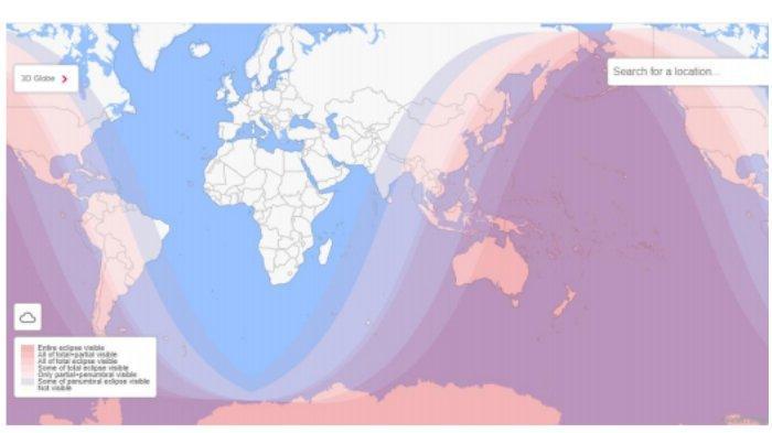 Peta lokasi terjadinya gerhana bulan di seluruh Dunia.