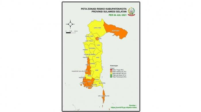 Termasuk Barru, Ini 10 Daerah Zona Oranye Covid di Sulsel