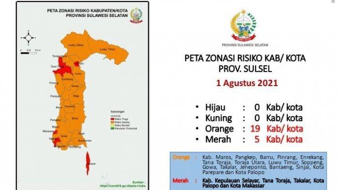 Makassar, Toraja, Palopo, Takalar dan Selayar Zona Merah Penyebaran Covid-19
