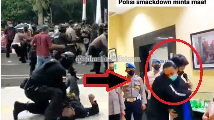 Polisi yang Smackdown Mahasiswa Minta Maaf & Peluk Korban, Brigadir NP: Saya Siap Bertanggung Jawab