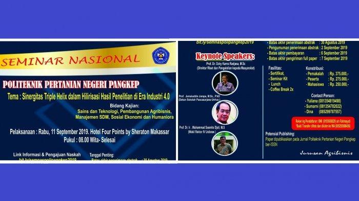 Dies Natalis ke-31, Politani Pangkep Gelar Seminar Nasional Hadirkan Direktur Riset Kemenristekdikti