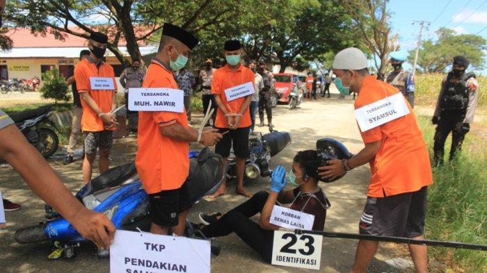 Rekonstruksi Kasus Pembunuhan Wartawan di Mamuju Tengah, 6 Pelaku dan 1 Saksi Peragakan 43 Adegan