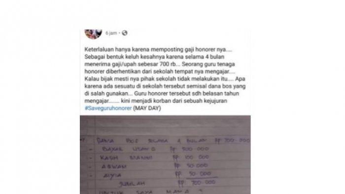 Postingan FB guru honorer di Bone yang langsung dipecat
