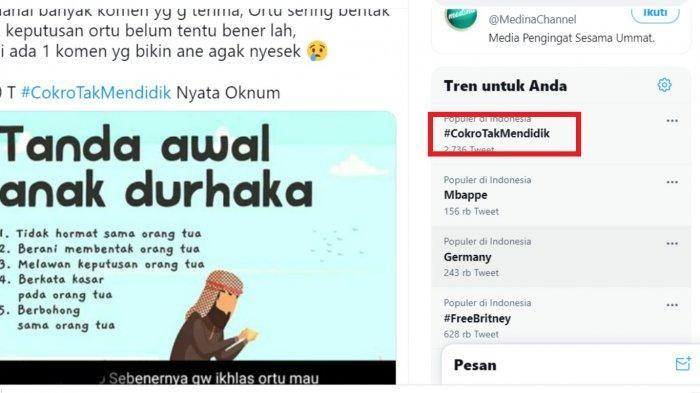 Tagar CokroTakMendidik Trending Topic Twitter, Seret Nama Jokowi, Denny Siregar, Ade Armando
