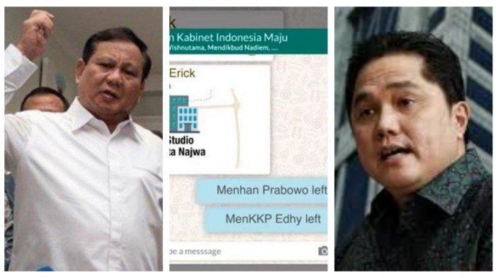 Kronologi Prabowo & Edhy Left Grup 'Padepokan Kabinet Indonesia Maju', Erick Thohir & Nadiem Cekcok