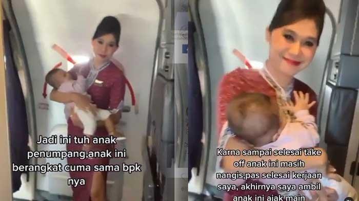 BIODATA Evi Rahmadani, Pramugari yang Viral Gegara Gendong Bayi di Pesawat, Netter Banjir Air Mata