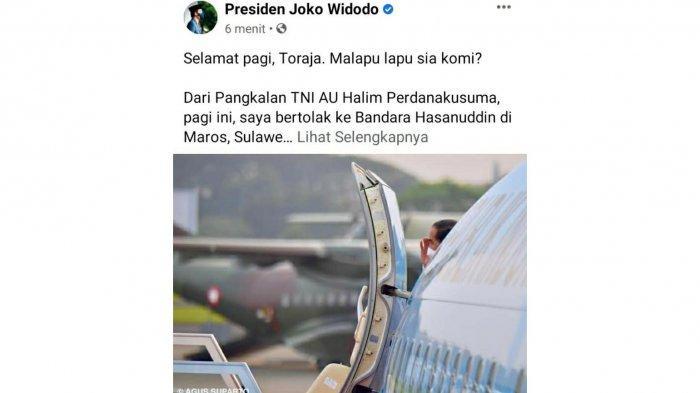 Unggah Foto Naik Pesawat, Presiden Jokowi: Selamat Pagi Toraja, Malapu Lapu Sia Komi?