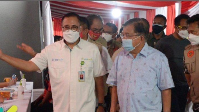 Prof Kadir Mesra dengan JK dan Mentan Syahrul di Vaksinasi Massal IKA Unhas, SYL: Bravo IKA Unhas