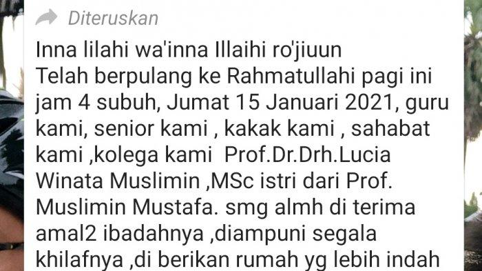 Kabar duka dari Unhas atas wafatnya Guru Besar Unhas di Group WhatsApp Forum Dosen dan Narasumber, Jumat (15/1/2021).