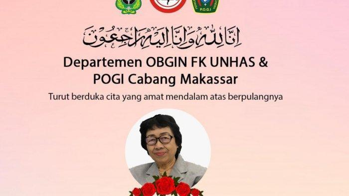 Prof Nuraeni Malawat, Guru Besar Unhas di Fakultas Kedokteran meninggal dunia dalam kondisi positif Covid-19 di Makassar, Rabu (6/1/2021).