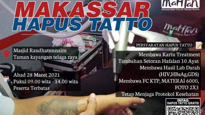 Mahtan Adakan Hapus Tato Gratis Perdana di Kota Makassar, Catat Tanggal dan Syaratnya