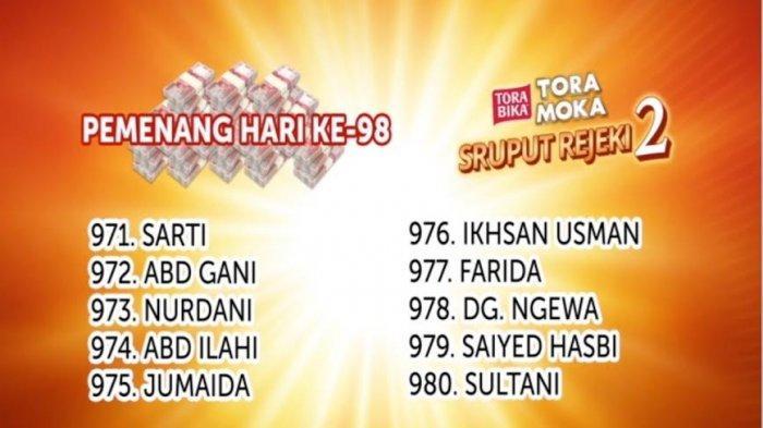 Data Pemenang Undian Sruput Rejeki Toramoka Makassar 2020 Hari 98, 99, dan 100