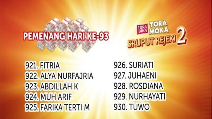 Selamat! Ini Data Pemenang Undian Sruput Rejeki Toramoka MakassarSelasa 14 April 2020
