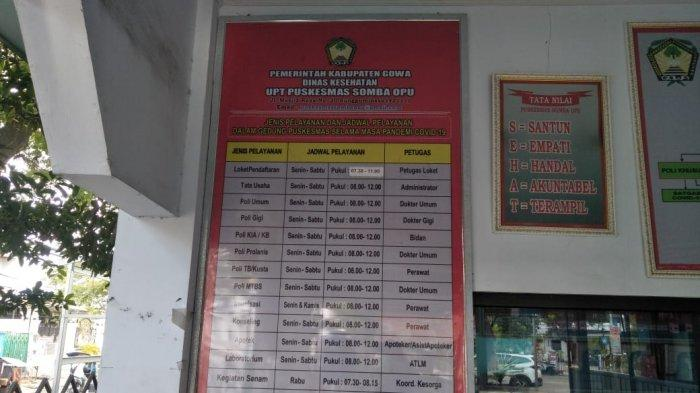 Jadwal layanan kesehatan Puskesmas Somba Opu, Gowa.